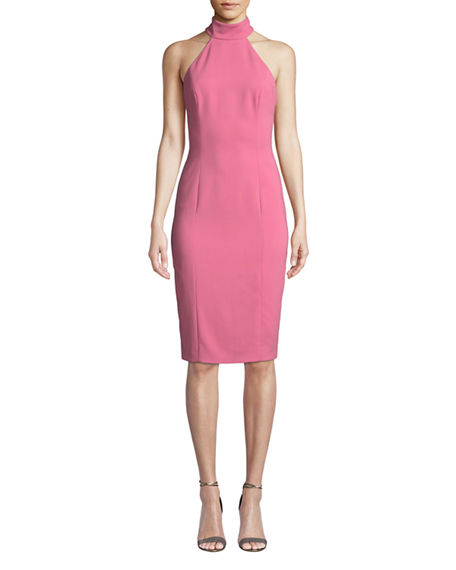 Image 1 of 2: Jay Godfrey Meghan Sleeveless Halter-Neck Open-Back Sheath Dress