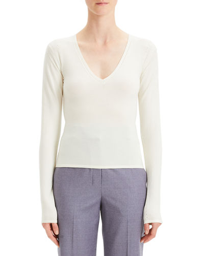 d0b6eb23ce Theory White Long Sleeves Sweater | Neiman Marcus