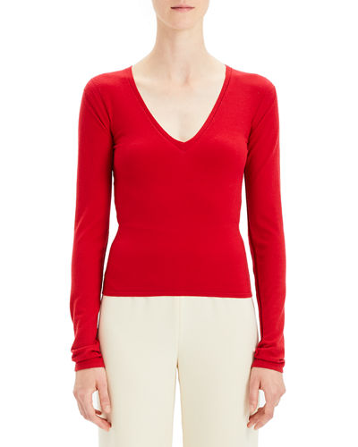Refine V-Neck Wool Long-Sleeve Pullover Sweater