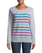 Neiman Marcus Cashmere Collection Cashmere Multicolor Striped