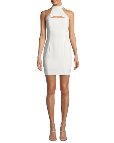 Halter-Neck Racerback Mini Dress w/ Chest Cutout