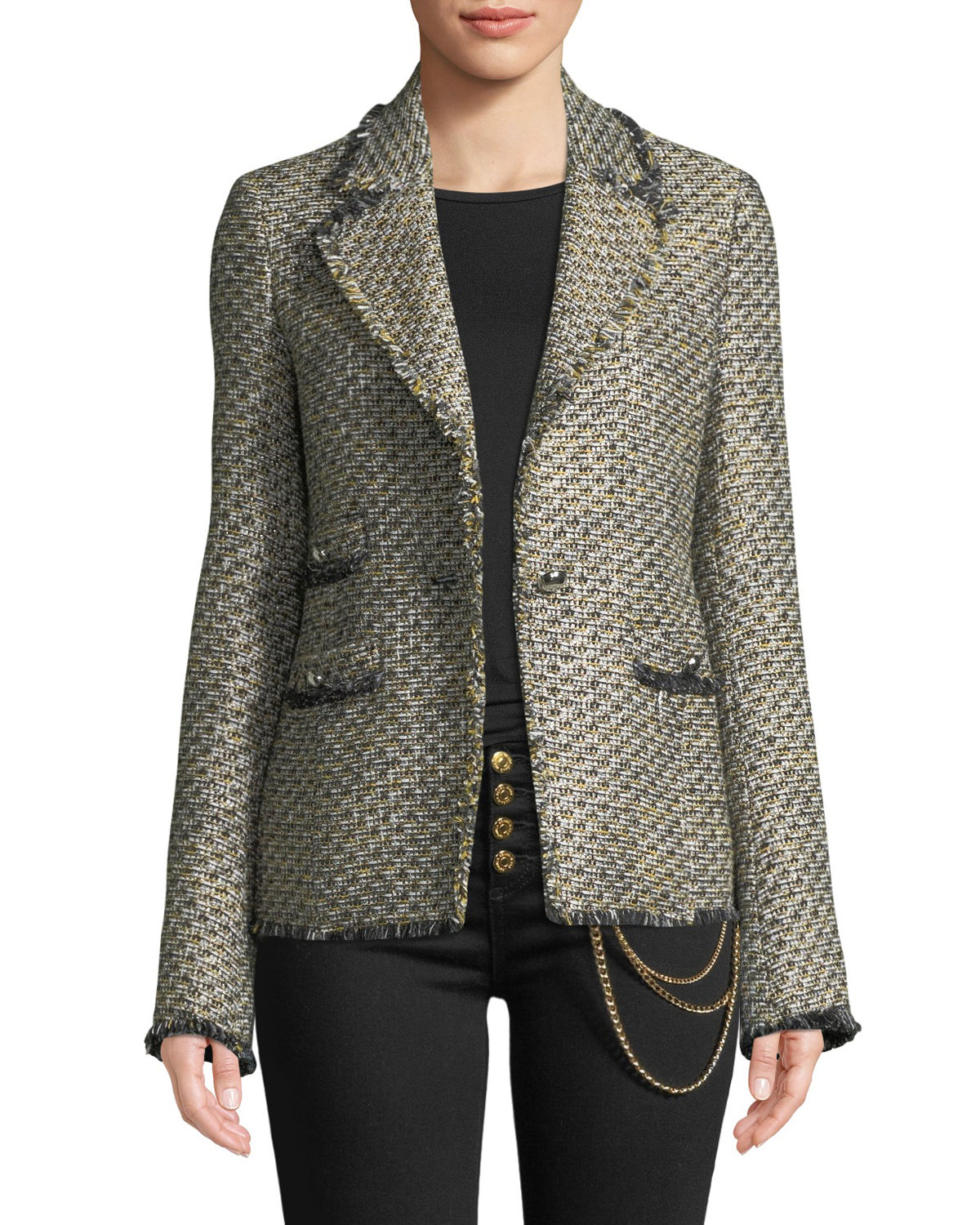Fabian Tweed Single Button Jacket by Veronica Beard