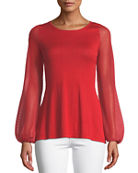 Neiman Marcus Cashmere Collection Cashmere-Blend Scoop-Neck Sheer
