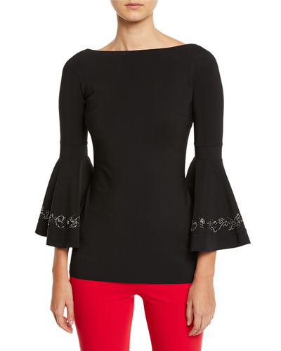 Embroidered Bell-Cuff Top