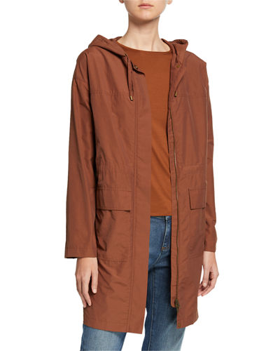 Eileen Fisher Petite Organic Cotton/Nylon Hooded Long Jacket