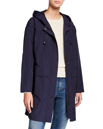 Petite Organic Cotton/Nylon Hooded Long Jacket