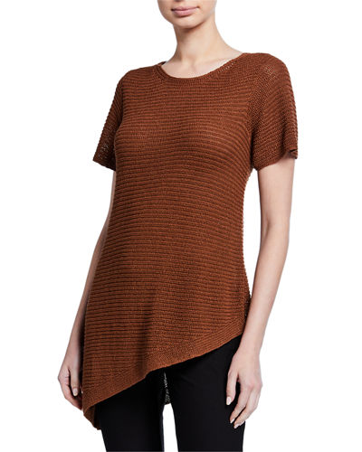 Organic Linen/Cotton Short-Sleeve Asymmetric Tunic Sweater