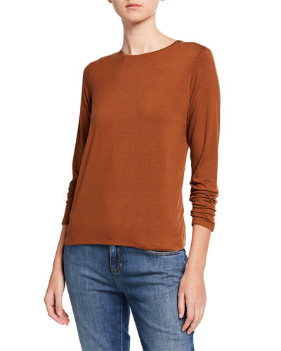 Eileen Fisher Jersey Crewneck Long-Sleeve Tee
