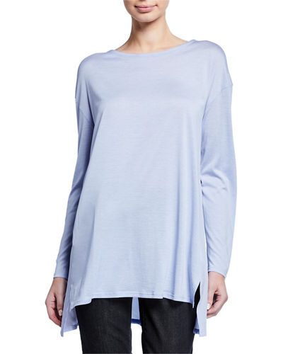 Eileen Fisher Jewel-Neck Long-Sleeve Jersey Front Tunic w/ Silk Back