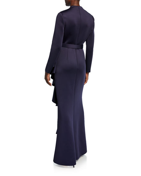 BADGLEY MISCHKA Gowns LONG-SLEEVE SCUBA GOWN WITH SIDE RUFFLE DETAIL