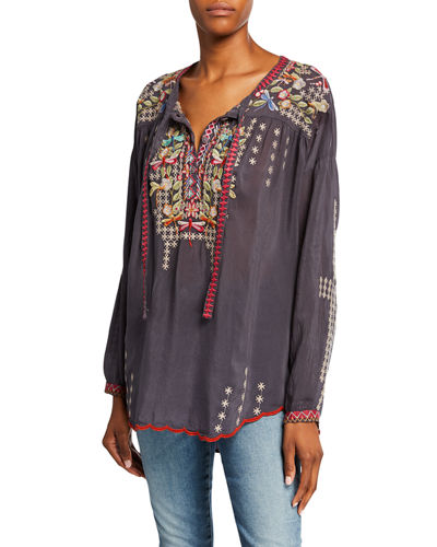 Plus Size Dragonfly Embroidered Long-Sleeve Georgette Blouse with Ties