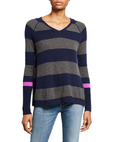 Lisa Todd Petite Hype Multi-Stripe V-Neck Cashmere Sweater w/ Pop Color Sleeve