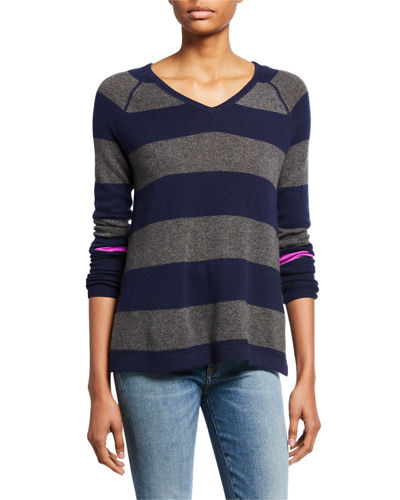 Petite Hype Multi-Stripe V-Neck Cashmere Sweater w/ Pop Color Sleeve
