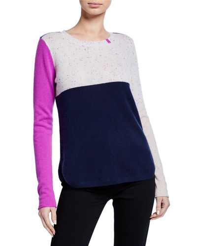 Plus Size Block Shock Colorblock Crewneck Cashmere Sweater