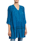 Johnny Was Elimo Embroidered Applique V-Neck 3/4-Sleeve Georgette