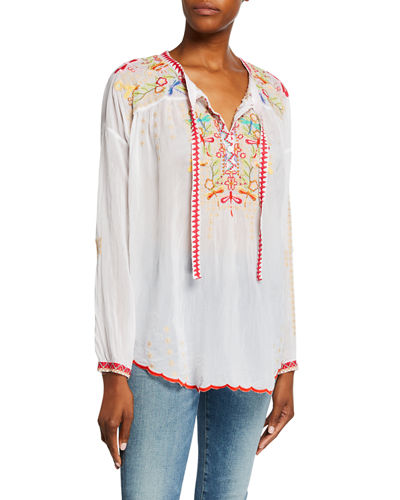 Dragonfly Embroidered Long-Sleeve Georgette Blouse with Ties