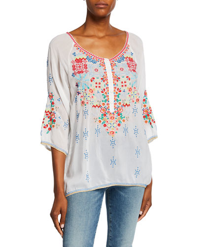 Muna Embroidered Scoop-Neck 3/4-Sleeve Georgette Blouse