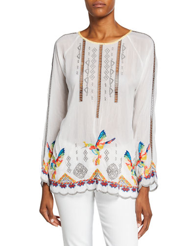 Plus Size Tessa Embroidered Long-Sleeve Georgette Blouse w/ Hummingbirds