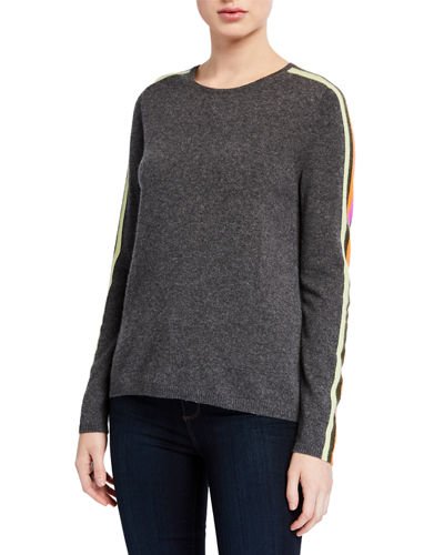 Lisa Todd Plus Size The Racer Cashmere Sweater w/ Striped Sleeves