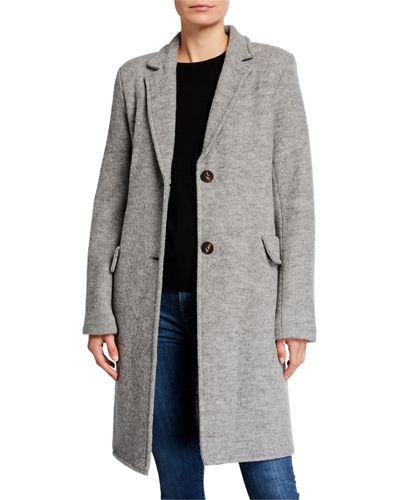 Fleurette 2-Button Wool Boucle Coat