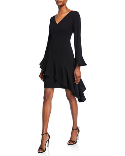 V-Neck Bell-Sleeve Crepe Dress with Asymmetric Skirt Detailing