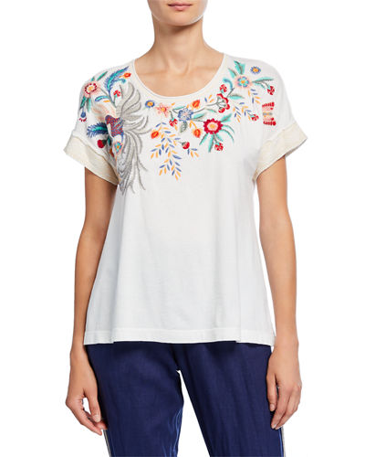 Bisous Raw Seam Effortless Short-Sleeve Tee with Embroidery