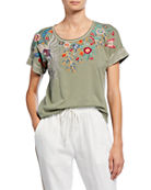 Johnny Was Bisous Raw Seam Effortless Short-Sleeve Tee