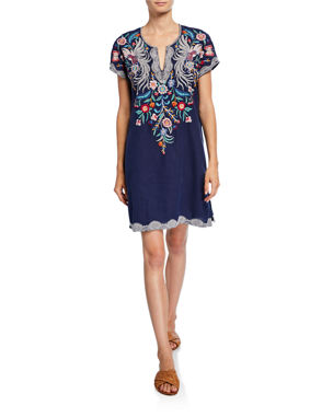 be81bae3ff0 Johnny Was Plus Size Bisous Embroidered Short-Sleeve Easy Linen Tunic Dress