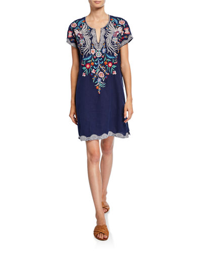 Plus Size Bisous Embroidered Short-Sleeve Easy Linen Tunic Dress