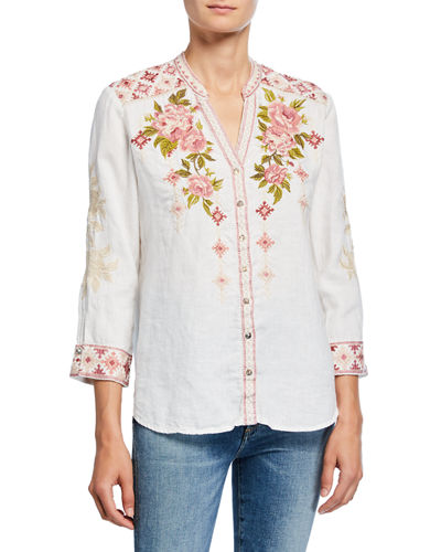Yuki Embroidered Button-Down 3/4-Sleeve Linen Blouse