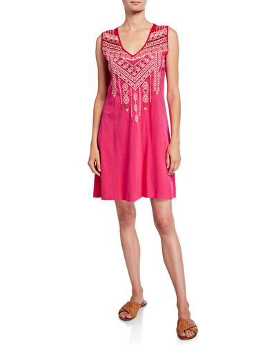 Sabriya Embroidered Yoke Tank Dress