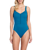 Gottex Bardot Button-Front One-Piece Swimsuit - Extra Coverage
