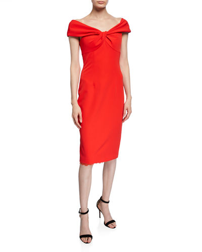 Imperative Portrait-Neck Short-Sleeve Crepe Sheath Dress