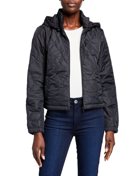 Majestic Filatures Quilted Hooded Zip-Up Jacket