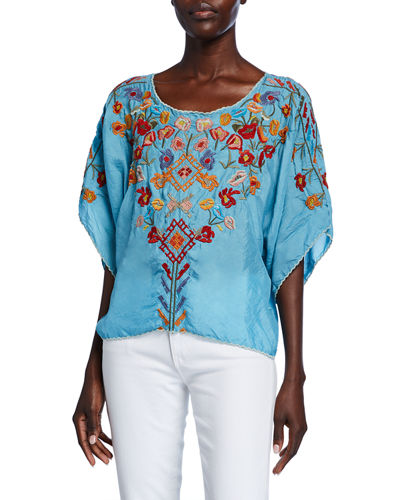 Lombriga Embroidered Scoop-Neck Cupro Blouse
