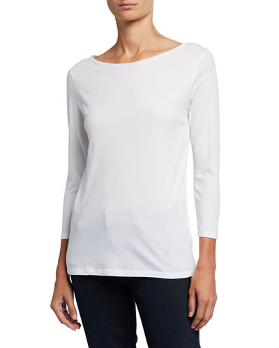 Boat-Neck 3/4-Sleeve Silk Touch Tee