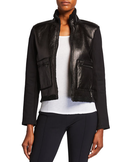 Majestic Filatures Metallic Shearling Zip-Front Jacket