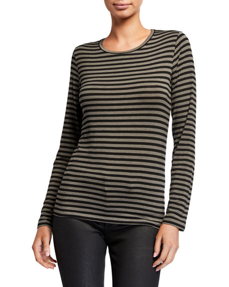 Majestic Filatures Striped Long-Sleeve Crewneck Tee