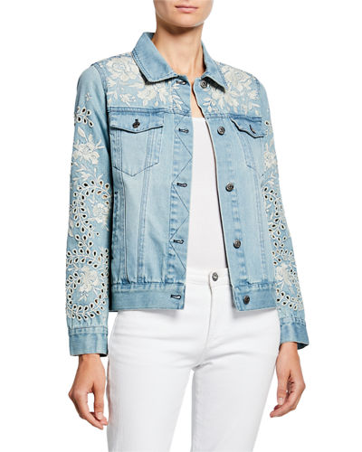 Ivory Embroidered Eyelet Crop Denim Jacket