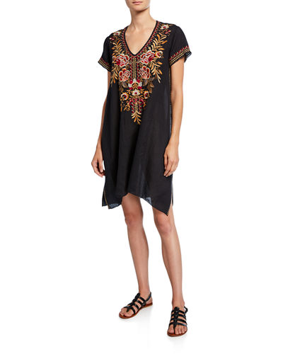 Johnny Was Charlotte Floral Embroidered V-Neck Linen Tunic Dress