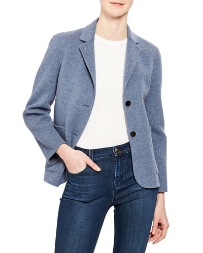 Wool-Cashmere Shrunken Double-Face Two-Button Jacket