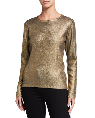 Metallic Crewneck Long-Sleeve Sweater