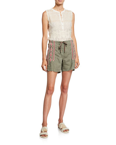 Johnny Was Sabriya Embroidered Drawstring Linen Shorts