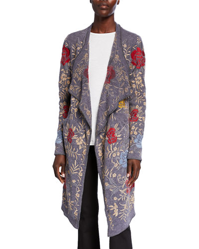 Pua Embroidered Knit Cardigan