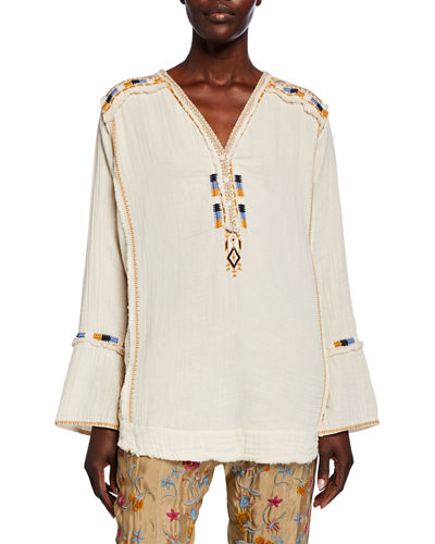 Mars V-Neck Long-Sleeve Embroidered Gauze Top