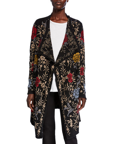 Plus Size Pua Embroidered Knit Cardigan