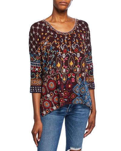 Petite Zora Embroidered Scoop-Neck 3/4-Sleeve Top