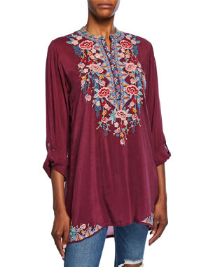3e97901d721fd5 Johnny Was Plus Size Beatrix Embroidered Mandarin-Collar Tunic