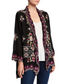 Johnny Was Lena Embroidered Scallop-Edge Tie-Front Jacket