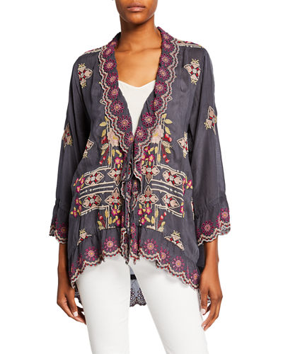 Lena Embroidered Scallop-Edge Tie-Front Jacket